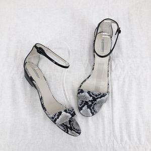 GIORGIO ARMANI Snake Embossed Ankle Strap Sandal